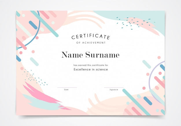 Zertifikatvorlage für pastellfarben im memphis-stil