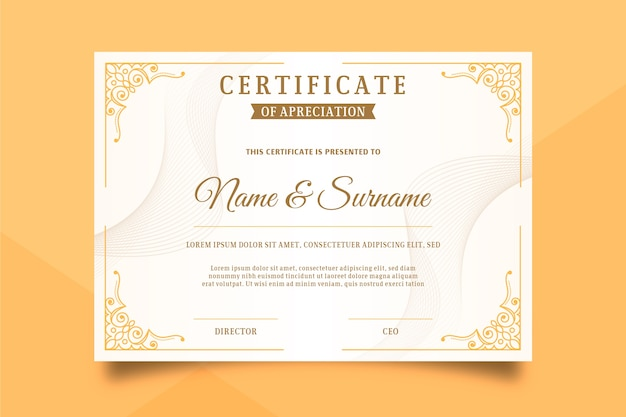 Zertifikatvorlage im eleganten stil