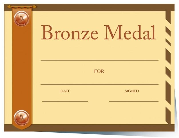 Zertifikatvorlage mit bronzemedaille