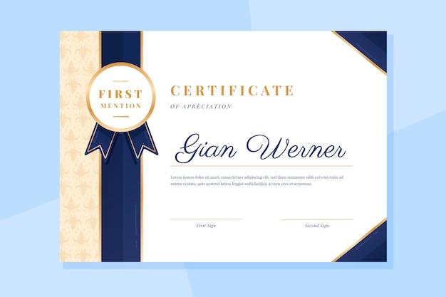 Zertifikatvorlage mit elegantem design