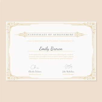 Zertifikatvorlage mit elegantem rahmen