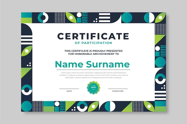 Zertifikatvorlage mit farbverlaufsmosaik