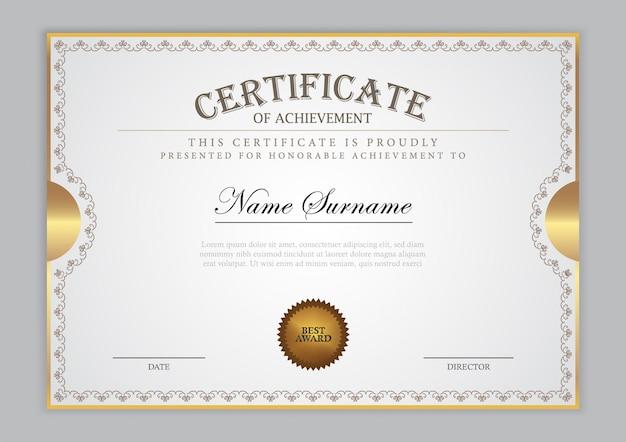 Zertifikatvorlage mit goldelement und modernem design, diplom