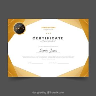 Zertifikatvorlage mit goldener farbe