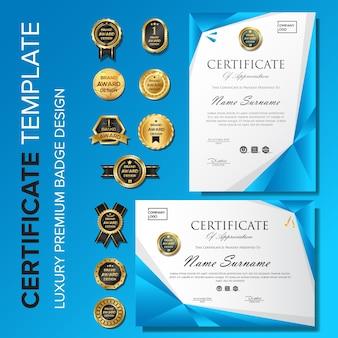Zertifikatvorlage mit luxus-premium-badge