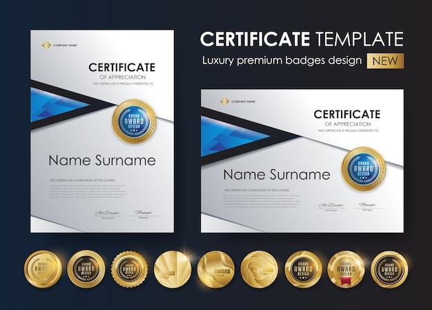 Zertifikatvorlage mit luxus- und premium-abzeichen-design