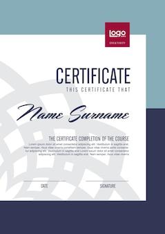 Zertifikatvorlage mit sauberem und modernem muster, leere vorlage des qualifikationszertifikats mit eleganter illustration