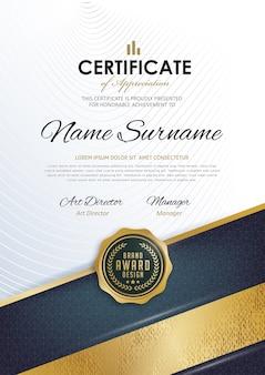 Zertifikatvorlage mit sauberem und modernem muster,
