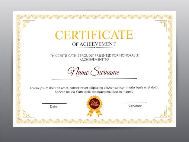 Zertifikatvorlage mit sauberem und modernem muster.