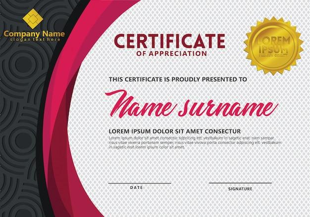Zertifikatvorlage mit textur-muster für sportveranstaltungen