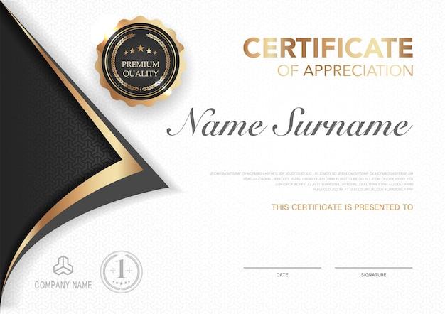 Zertifikatvorlage schwarz und gold mit luxuriösem stilbild diplom des geometrischen modernen designs