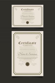 Zertifikatvorlagen mit zierrahmen im vintage-stil
