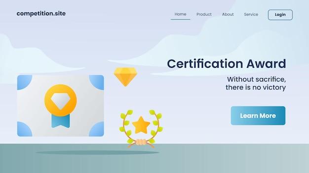 Zertifizierungsauszeichnung mit slogan ohne opfer, es gibt keinen sieg für die vektorgrafik der website-vorlage, die homepage landet