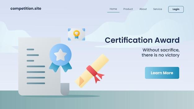 Zertifizierungsauszeichnung mit slogan ohne opfer kein sieg für website-vorlage, die homepage-vektorillustration landet