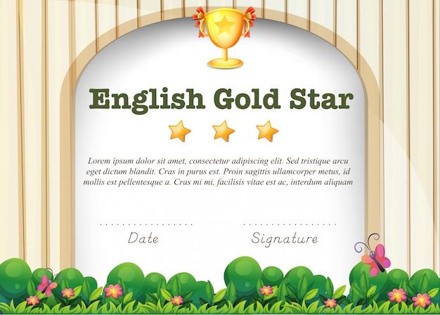 Zertifizierungsvorlage für das englische fach