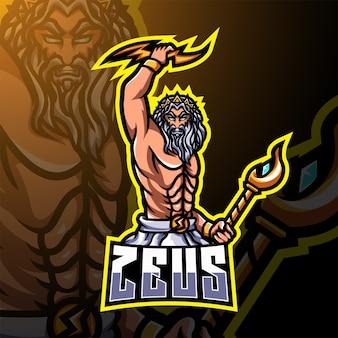 Zeus esport maskottchen logo design