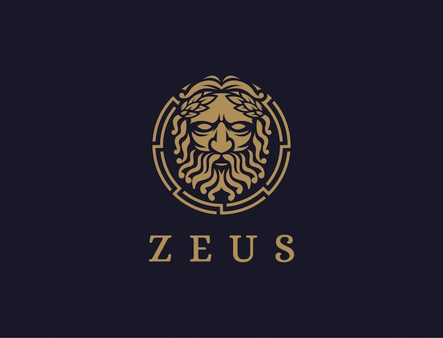 Zeus-gott-logo-symbolillustration auf dunklem hintergrund, lopiter-logo, jupiter-logo