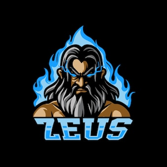 Zeus head e sport maskottchen logo