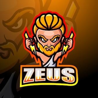 Zeus maskottchen esport illustration