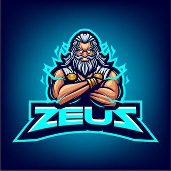 Zeus maskottchen für esport und sport logo isoliert