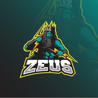 Zeus-maskottchen-logo-design mit modernem illustrationskonzeptstil für abzeichen-, emblem- und t-shirt-druck.