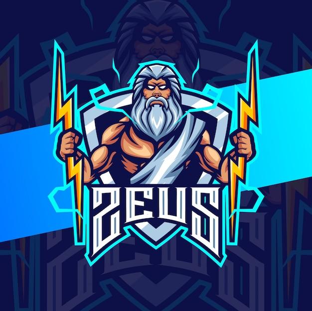 Zeus mit donner maskottchen esport logo design