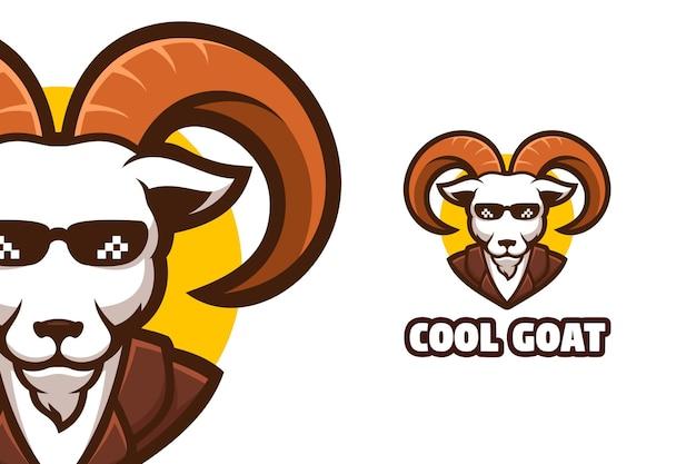 Ziege boss maskottchen logo illustration