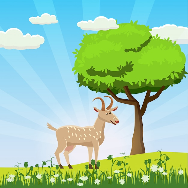 Ziege, die in einer wiese auf einer hintergrundlandschaft, sonne, sonnenaufgang, blumen, karikaturart, vektorillustration weiden lässt
