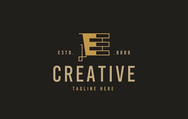 Ziegelbau-logo-design vektor-illustration des anfänglichen e-ziegelbau-icon-designs