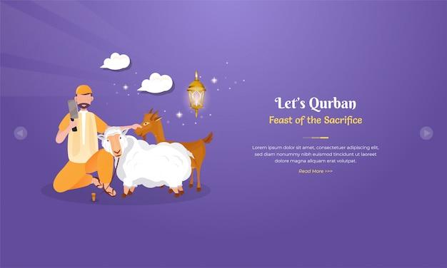 Ziegen- oder schafschlachtillustration für eid al adha feierkonzept