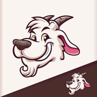 Ziegenkopf lächeln maskottchen cartoon