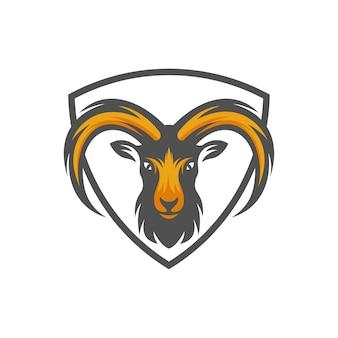Ziegenkopf-logo, tierkopf-vektor-illustration
