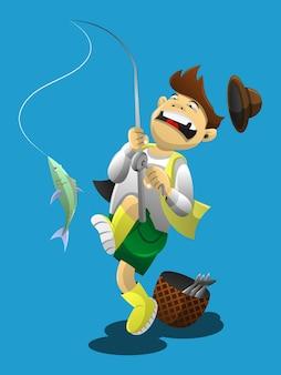 Ziehen sie angler, während sie einen fisch fangen