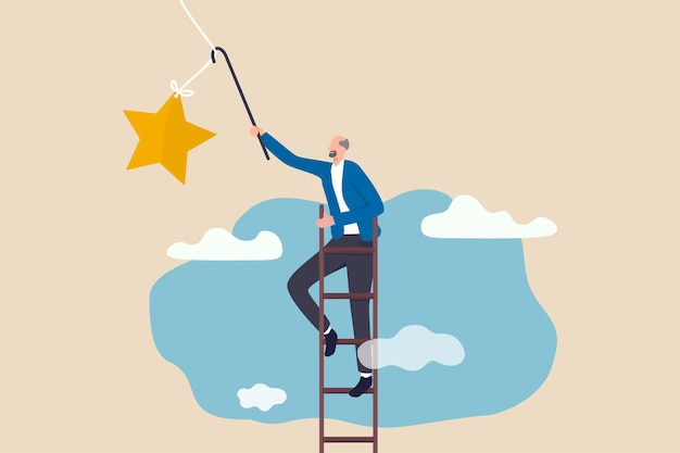 Ziel der pensionskasse, finanzplanung für rentner oder erfolgskonzept des ruhestandslebens, älterer älterer rentner, der die leiter nach oben hoch in den himmel klettert, um den stern zu ergreifen.