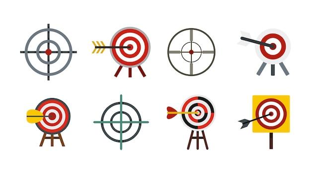Ziel-icon-set. flacher satz der zielvektor-ikonensammlung lokalisiert