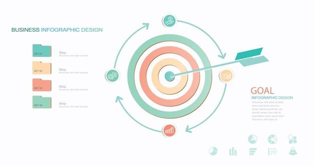 Ziel-infografiken stock illustration objekt-erfolgs-infografik