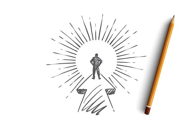 Ziel, karriere, startup, leader, geschäftsmann-konzept. hand gezeichneter zielgerichteter geschäftsmann auf seiner wegkonzeptskizze.