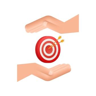 Ziel mit einem pfeil auf den händen flaches symbol konzept marktziel vektorbild