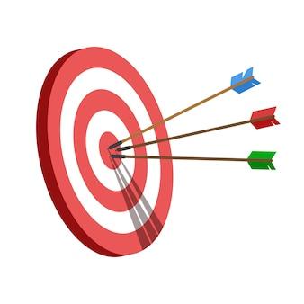 Ziel mit einem pfeil, treffe das ziel. konzept für geschäftliche herausforderungen und zielerreichung.