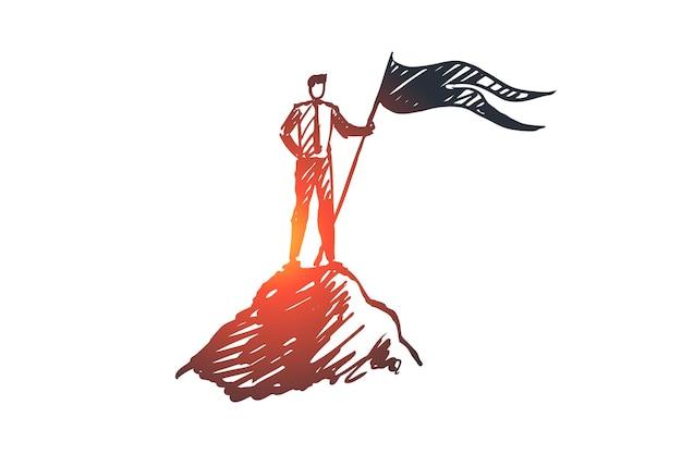 Ziel, spitze, führung, leistung, gewinnerkonzept. hand gezeichneter erfolgreicher geschäftsmann oben auf bergkonzeptskizze.