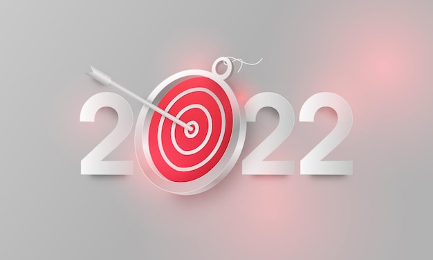Ziele im jahr 2022 hintergrund mit pfeil und ziel