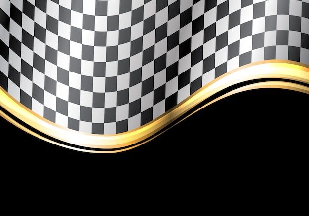 Zielflagge-goldlinie welle auf schwarzem