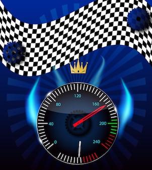 Zielflagge, tachometer. vektor-illustration. eps 10.