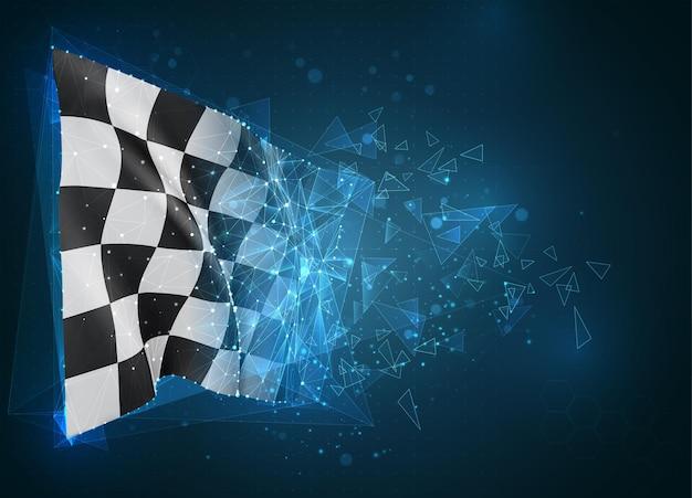 Zielflagge, virtuelles abstraktes 3d-objekt aus dreieckigen polygonen auf blauem hintergrund