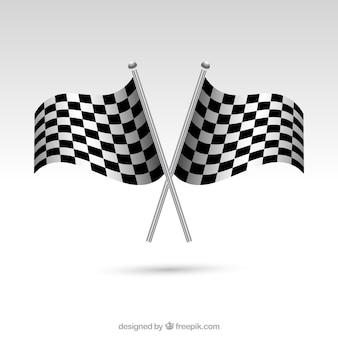 Zielflaggen mit realistischem stil