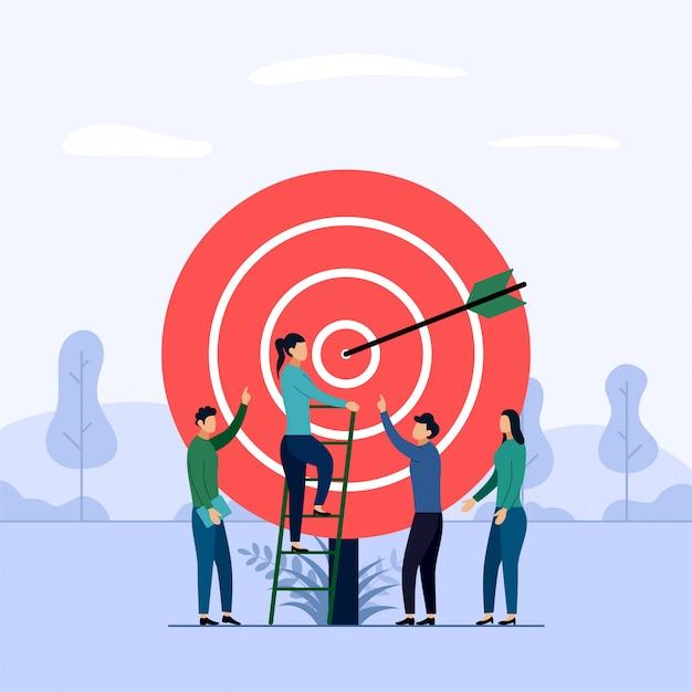 Zielgeschäfts-teamarbeit, pfeil, der ein ziel schlägt,
