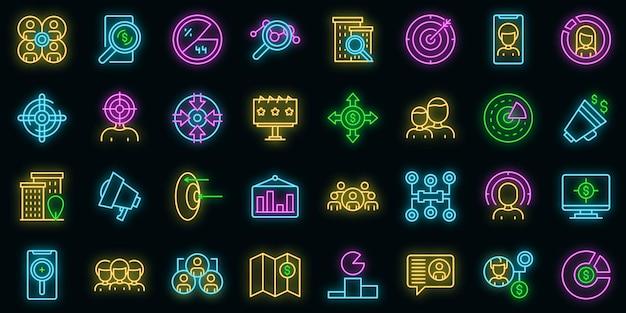 Zielgruppensymbole gesetzt. umrisse von zielgruppenvektorsymbolen neonfarbe auf schwarz