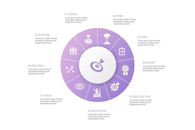 Zielinfografik 10 schritte kreisdesign.ziel, wunsch, aufgabe, zielsetzung einfache symbole