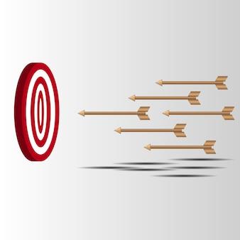 Zielpfeile schossen fehlversuche ab, um ein bogenschießziel zu treffen