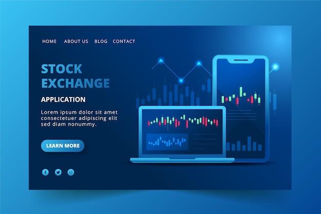 Zielseite der börsenanwendung